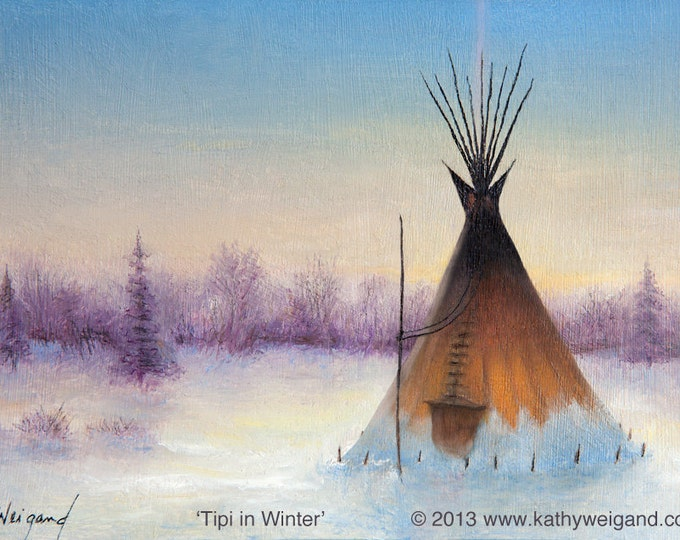 Tipi In Winter, Signed Reproduction Print