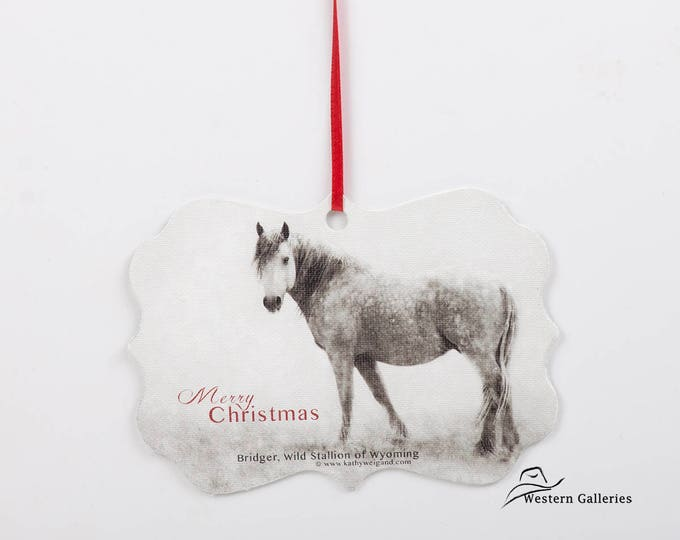 Bridger, Wild Stallion of Wyoming, Christmas Tree Ornament, Gift Tag