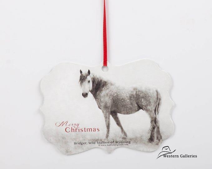 Bridger, Wild Stallion of Wyoming, Christmas Tree Ornament, Gift Tag