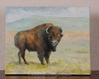 Original Oil Painting Bison Study