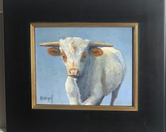 Original oil painting, Young Longhorn Calf