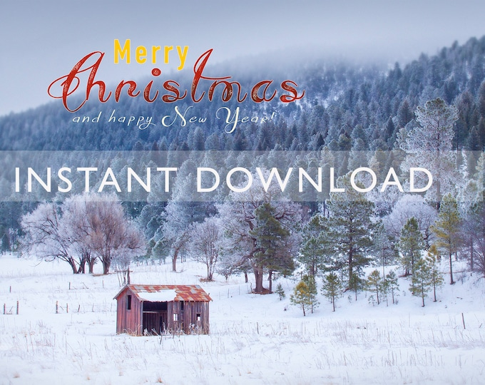 Printable Merry Christmas Card Cover Instant Digital Download, Old Red Cowboy Barn in Snow, Mountains, 5x7