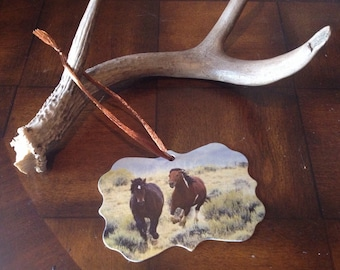 Wild Horses Christmas Tree Canvas Ornament, Gift Tag, McCullough Peaks WY