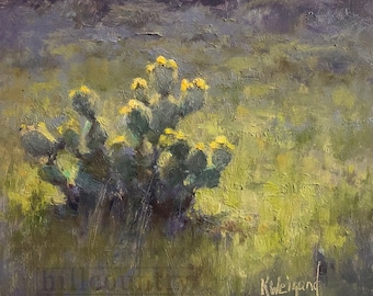 Cactus in Bloom 6x6 Original Oil Painting Tx Hill Country