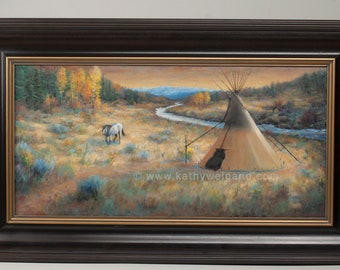 Sunset Harmony, Original Oil Painting, Native American Inspired Tipi