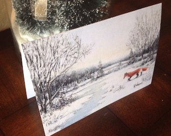 5x7 Christmas, Holiday, & Greeting Cards of Winter Forest in snow with red Fox.  Winter Wonderland notecards, wildlife, yellowstone,