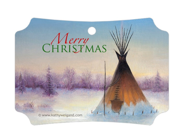 Tipi In Winter Christmas Ornament, Gift Tag, with Merry Christmas text