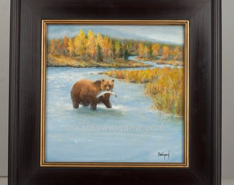 A Good Catch, Original Oil Painting, Grizzly Brown Bear Fishing