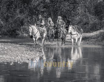 Mountain Men Crossing River
