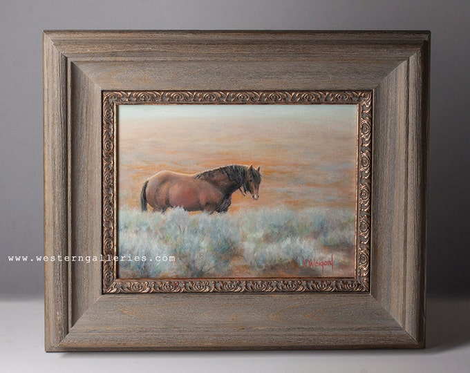 Original Oil Painting of a Wild Stallion, McCullough Peaks Wyoming