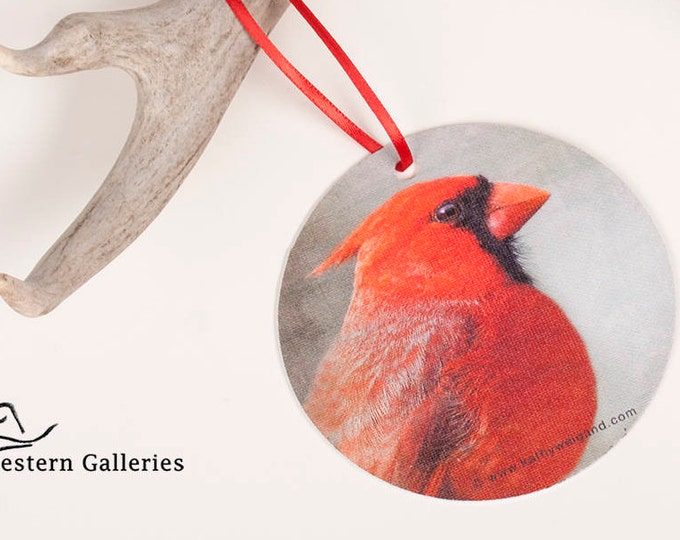 Red Cardinal Christmas Tree Ornament, Gift Tag