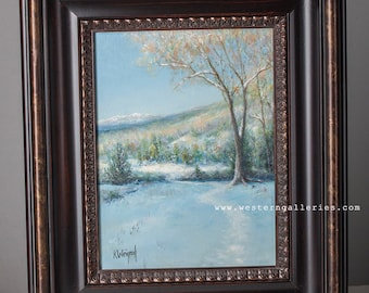 Mountain Snow Trail, original oil painting