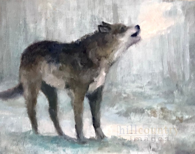 Original Oil Painting Wolf Howling 6x8