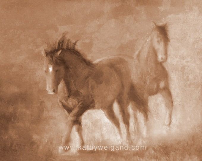 Wild Stallions of McCullough Peaks Wyoming, Oil Reproduction Signed Print