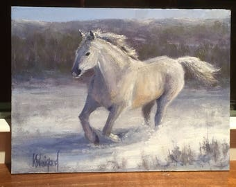 Snow Pony, Original Miniature Oil Painting