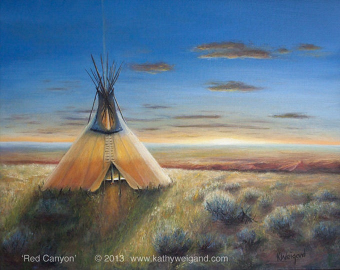 Native American Plains Red Canyon Tipi Teepee Fine Art Signed Print