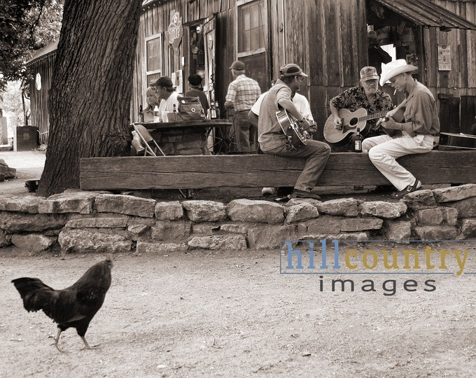 Luckenbach Texas Hill Country Dancehall Fine Art Wall Print, Man Cave, Restaurant, Bars, Music, Chickens, Beer Sign