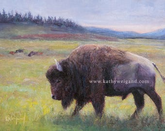 Yellowstone Bison, Signed Giclee Open Edition Print Made From Original Oil Painting