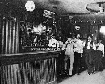 Old Antique Saloon, black & white photo, late 1800's, Reproduction Print