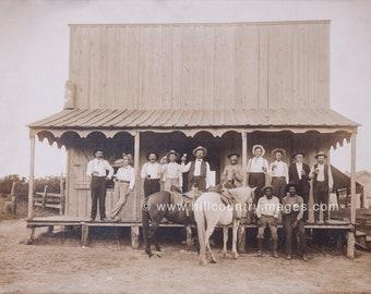 Otto's Saloon - Men on Porch