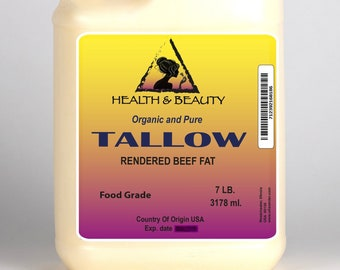 7 Lb, 1 gal TALLOW Organic Grass-Fed Rendered BEEF FAT All Natural 100% Pure