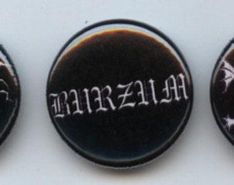 """Three black metal 1"""" pins Burzum Mayhem Darkthrone pinback button"""
