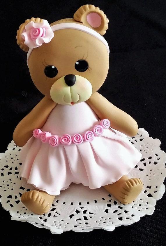 Pink Teddy Bear Bear Baby Shower Teddy Bear Cake Topper Etsy