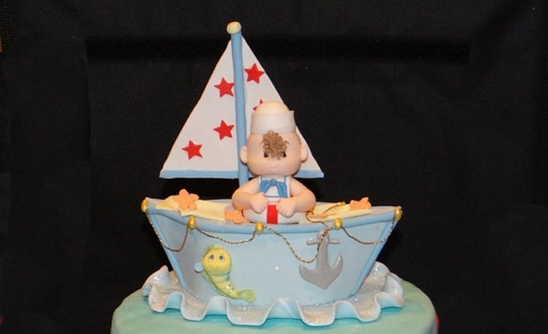 Nautical Baby Shower Cake Topper Nautical Favor Sailor Cake Etsy