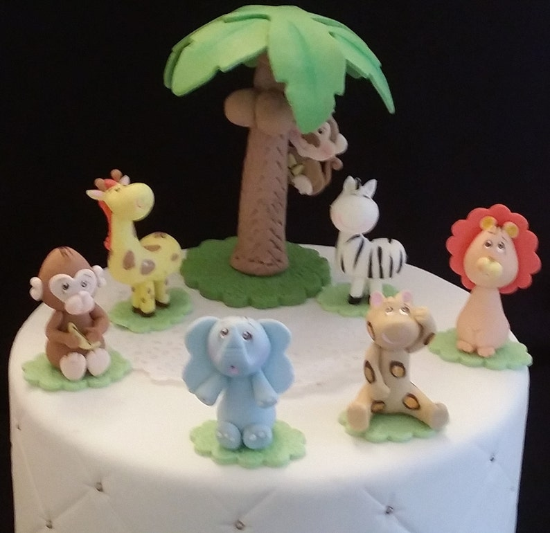 Jungle Favor 7 Animals Cake Topper Baby