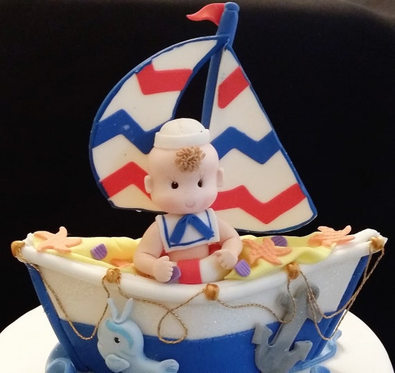 Magnificent Nautical Cake Topper Sailor Cake Topper Sailboat Cake Etsy Funny Birthday Cards Online Sheoxdamsfinfo