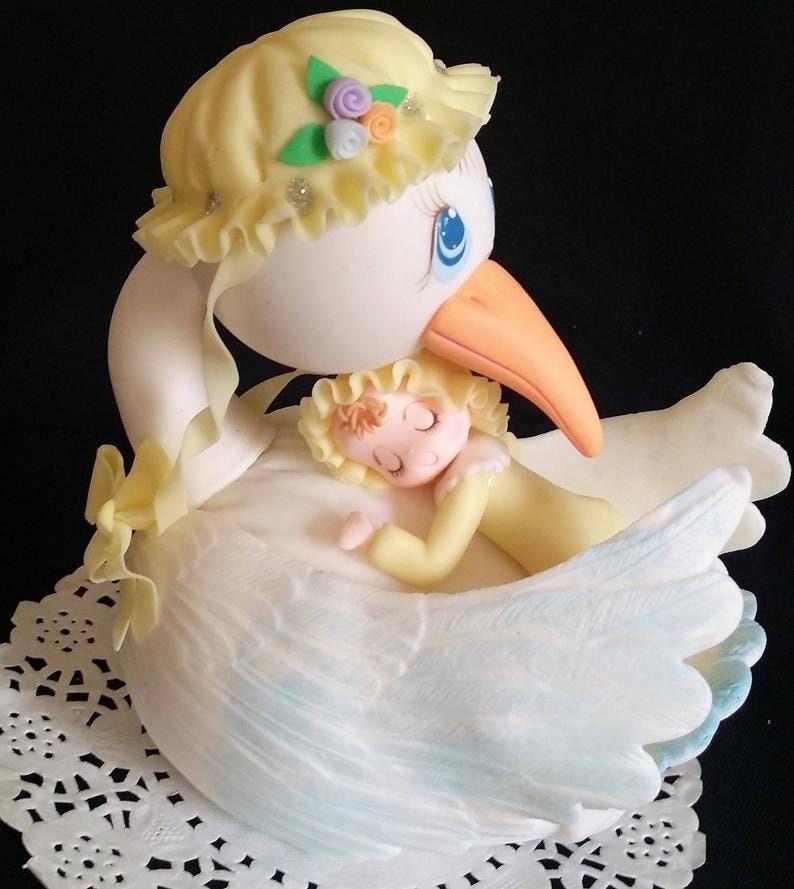 Stork Cake Topper Baby Shower Cake Mommy Stork For Cake Etsy