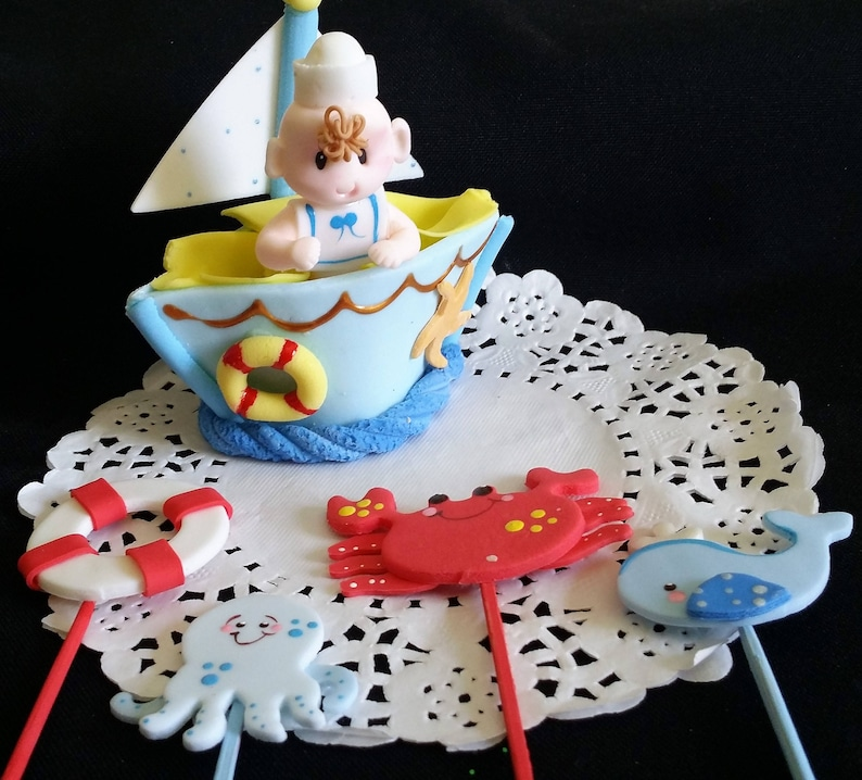 Nautical Baby Shower Cake Nautical Cake Topper Baby Shower Etsy