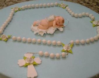 Rosary Cake Topper, Baptism Cake Topper, First Communion Cake Topper, White Baptism Rosary Decoration, Baptism Favor, Baptism Cake Rosary