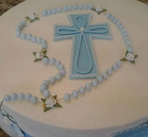 baptism cake topper baby boy baptism favor baptism rosary etsy