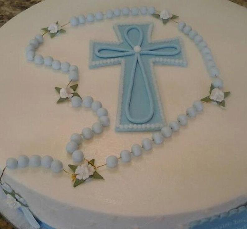 Baptism Cake Topper Baby Boy Baptism Favor Baptism Rosary image 0