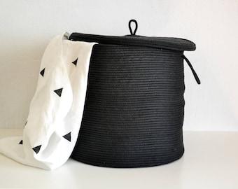 Rope Basket, Storage Basket, Storage Basket With Lid,Lidded Basket,  Scandinavian Basket, Black Basket,Laundry Hamper,Toys Basket,Storage Bin