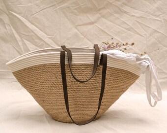 29f4c5ddece Jute beach basket bag