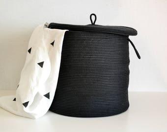 XL Storage Basket with Lid, Handwoven Basket, Laundry Hamper Bakset with Lid, Lidded Basket, Handwoven Basket, Scandinavian minimal basket