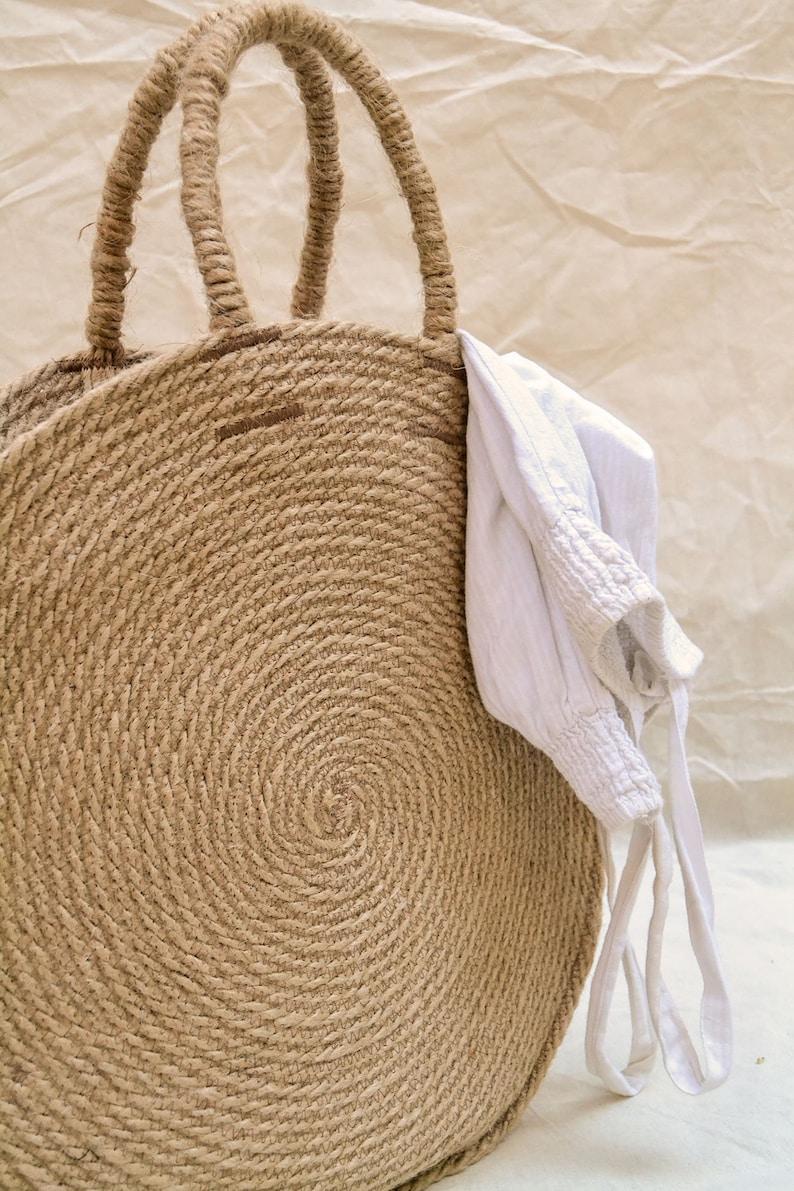 1cd1c5a645 Borsa di iuta basket tondo borsa da spiaggia cerchio bag | Etsy