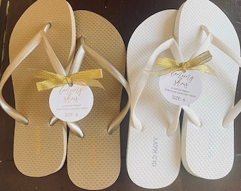Set of 20 Kraft Favor Tags For Dancing Shoes Beach Wedding Flip Flops Size Tags