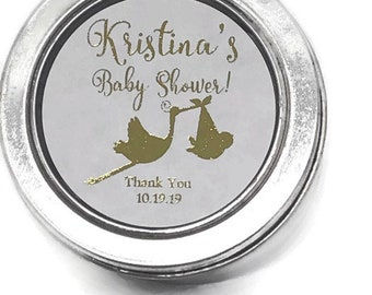 2 Round Baby Shower Sprinkle Favor Labels Thank You For Coming Gold Foil Labels Stickers Rose Gold Silver Pink Blue Mint Foil Available