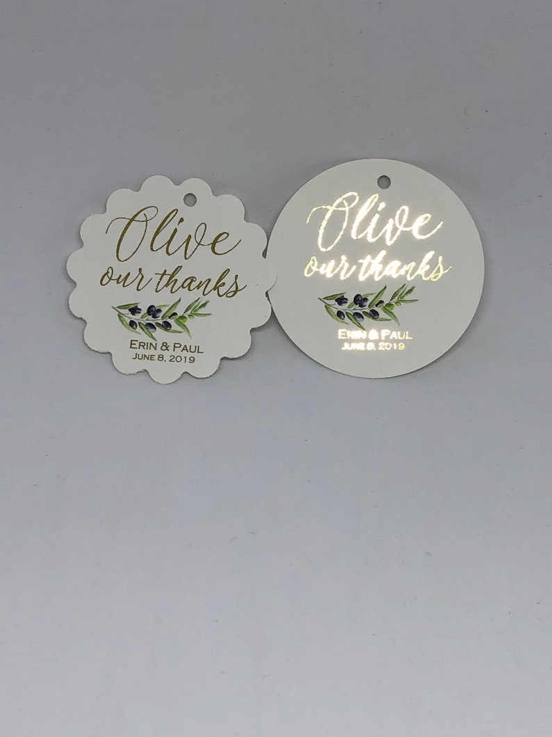 Olive oil favor tags 2 Olive our thanks Gold foil tags Wedding favor tags Olive theme wedding favor tags Gold foil wedding tags