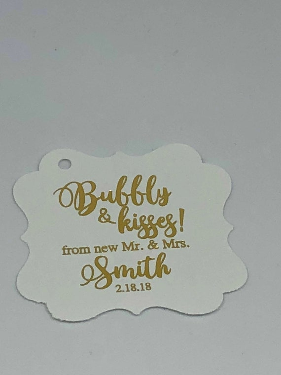 Beautiful 2 Bubbly /& Kisses from the new Mr Mrs Copper Rose Gold Champagne Favor Tags Wedding Tags Wedding Favor Tags Gold Foil Tags