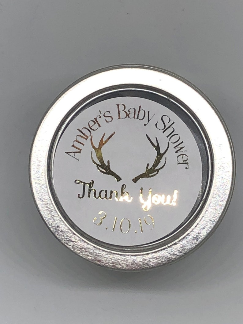Foil Stickers Baby Shower Sprinkle Thank You Stickers Silver Pink Blue Mint 1.67 Round Gold Foil Labels Stag Deer Antler Hunting Themed