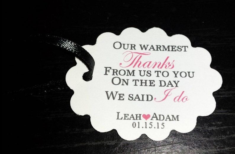 Warmest Thanks Favor Tags Personalized Wedding Tags Wedding Favor Tags