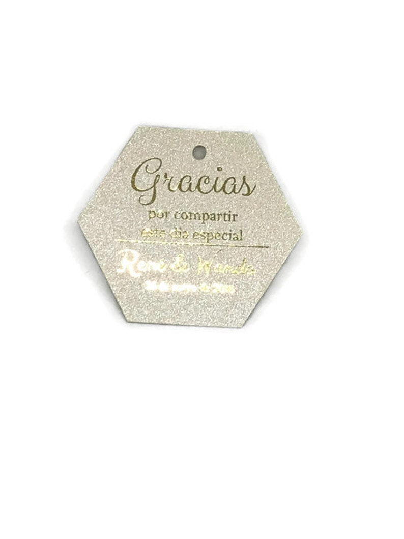 1.75 Shimmer Champagne Personalized Gracias Spanish Boda Real Gold Foil Tags Wedding Favor Tags Shimmer Stock Champagne Silver Wedding Tags