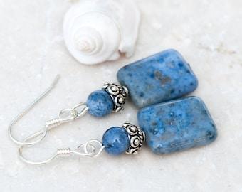 Dumortierite Earrings, Denim Blue Natural Stones, Denim Blue Earrings, Navy Blue Earrings, Sterling Silver, Third Eye Chakra, Healing Energy