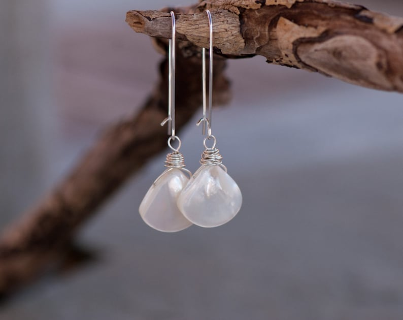 2cdbc97db Mother of Pearl Shell Earrings Wire Wrapped Sterling Silver
