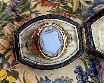 Antique Carved Sardonyx Opening Ring Locket Poison Size 5.75