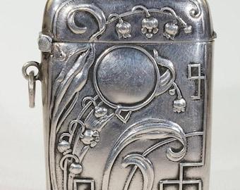 Art Nouveau German Silver Pendant Match Safe Lily of the Valley Vesta